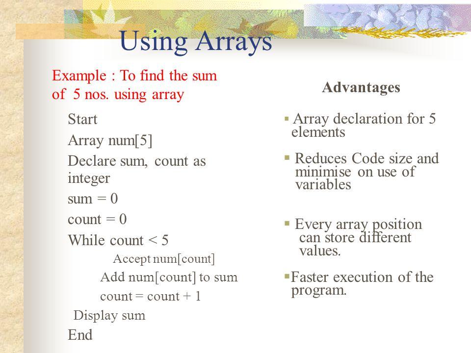 Using Arrays Start Array num[5] Declare sum, count as integer sum = 0 count = 0 While count < 5 Accept num[count] Add num[count] to sum count = count