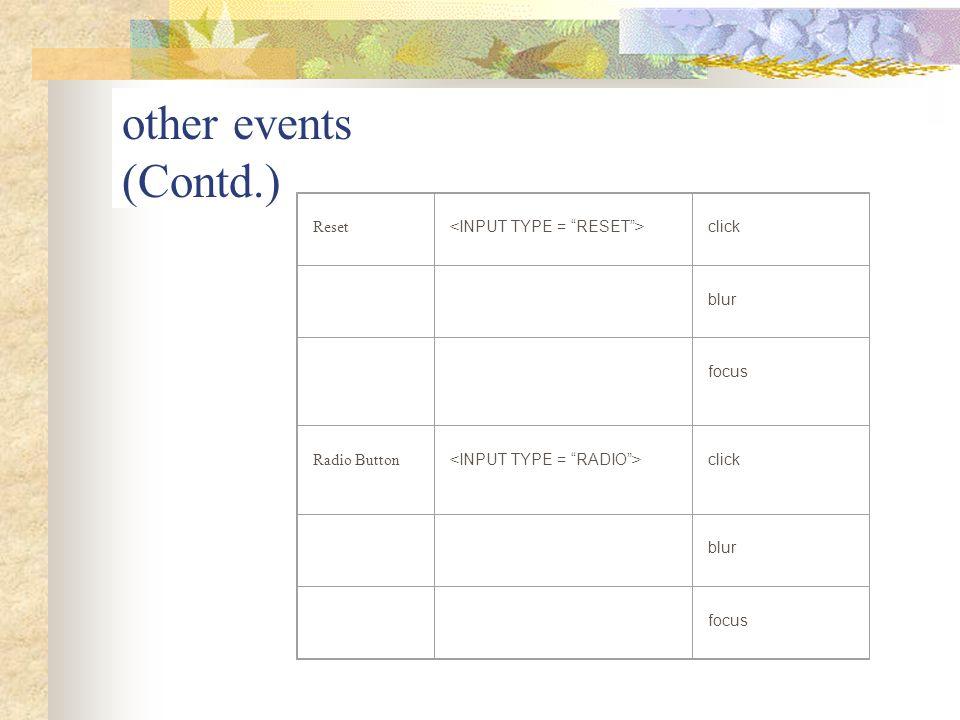 other events (Contd.) Reset click blur focus Radio Button click blur focus
