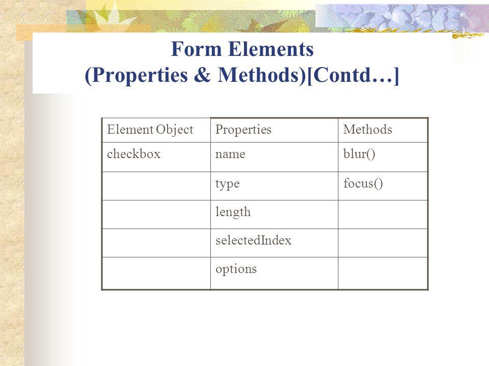 Form Elements (Properties & Methods)[Contd…] Element ObjectPropertiesMethods checkboxnameblur() typefocus() length selectedIndex options