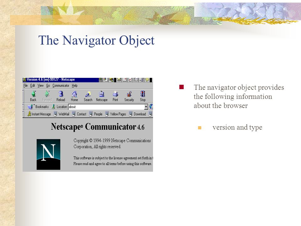 The Navigator Object The navigator object provides the following information about the browser version and type