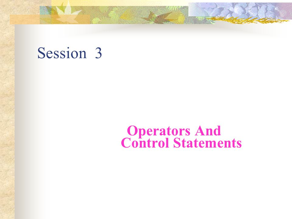 Session 3 Operators And Control Statements