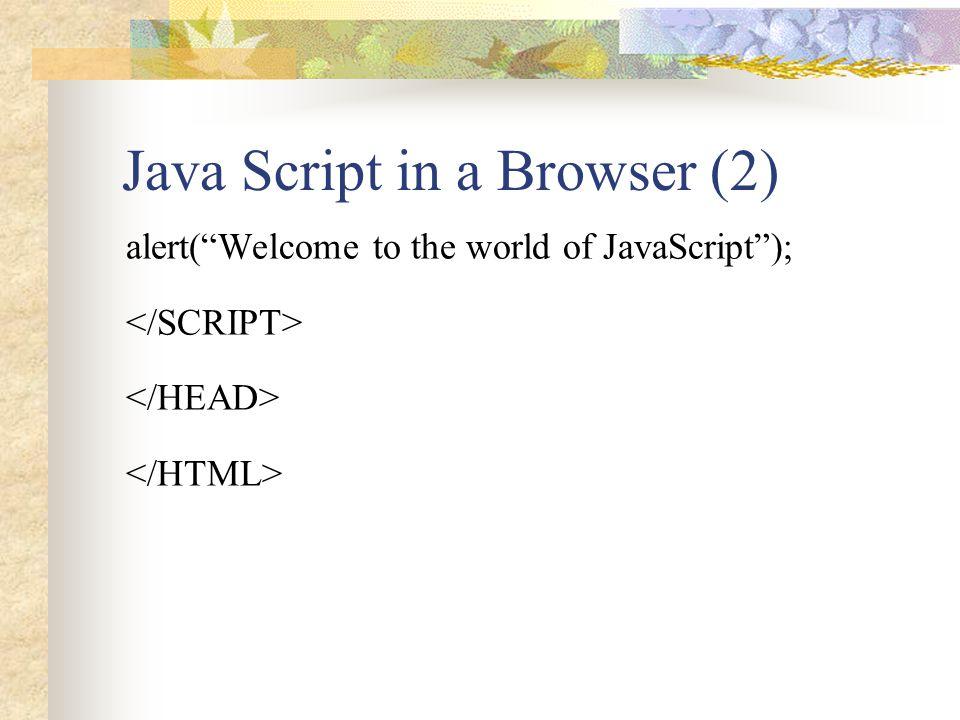 Java Script in a Browser (3) Using JavaScript