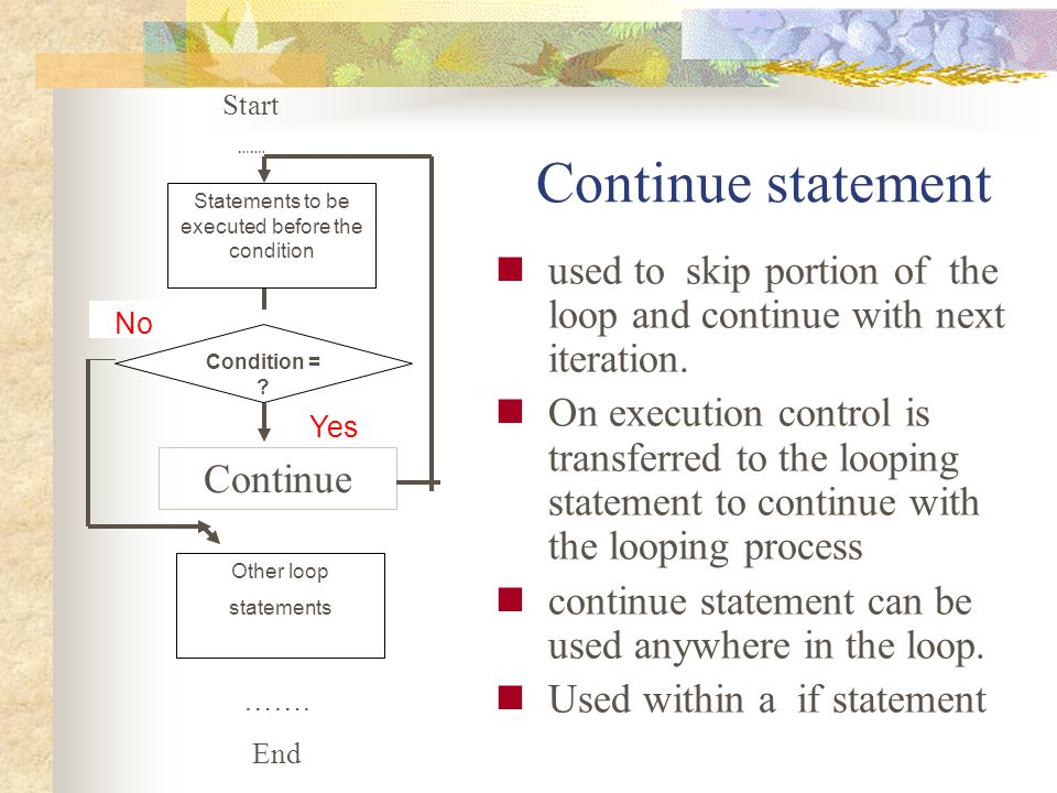 Continue statement used to skip portion of the loop and continue with next iteration. On execution control is transferred to the looping statement to