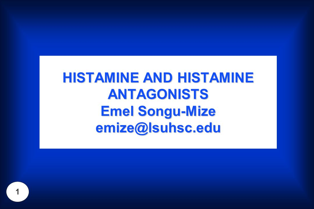 2 Objectives Know the anatomic localization and function of histamine H1, H2, H3 and H4 receptorsKnow the anatomic localization and function of histamine H1, H2, H3 and H4 receptors Distinguish between the 1 st and 2 nd generation H1-antihistaminesDistinguish between the 1 st and 2 nd generation H1-antihistamines Know prototypical agents for 1 st and 2 nd generation antihistamines (underlined)Know prototypical agents for 1 st and 2 nd generation antihistamines (underlined) Describe the diversity of desired and undesired actions associated with 1 st generation H1- antihistaminesDescribe the diversity of desired and undesired actions associated with 1 st generation H1- antihistamines