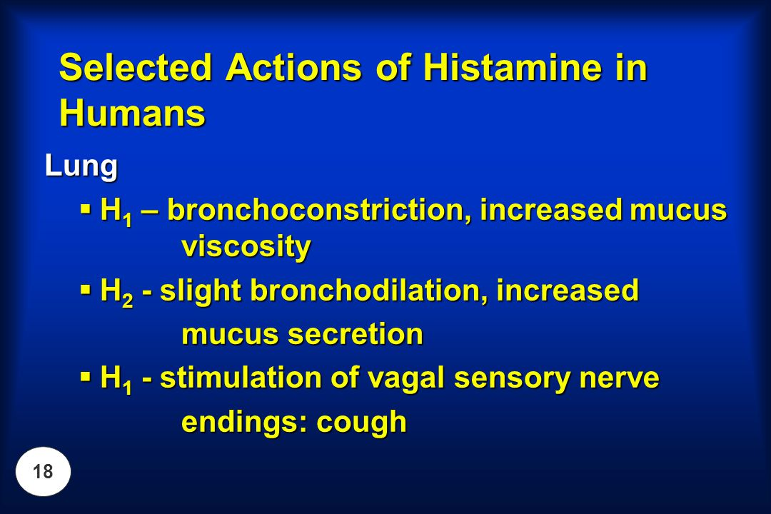 18 Lung  H 1 – bronchoconstriction, increased mucus viscosity  H 2 - slight bronchodilation, increased mucus secretion  H 1 - stimulation of vagal