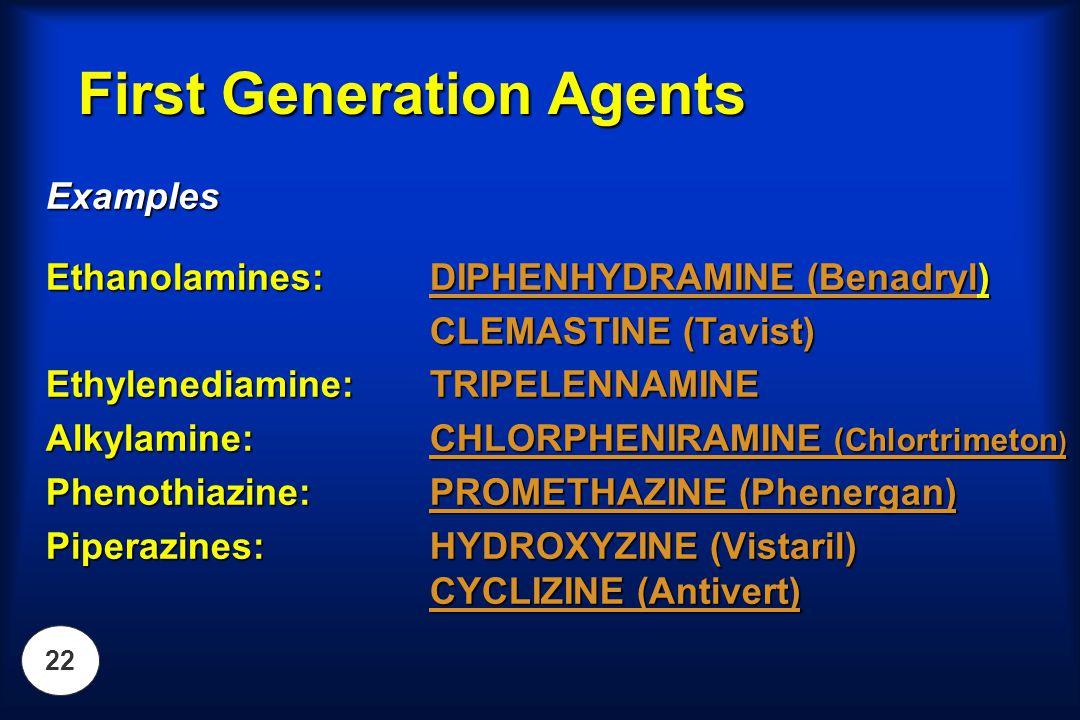 22 First Generation Agents Examples Ethanolamines: DIPHENHYDRAMINE (Benadryl) CLEMASTINE (Tavist) Ethylenediamine:TRIPELENNAMINE Alkylamine:CHLORPHENI