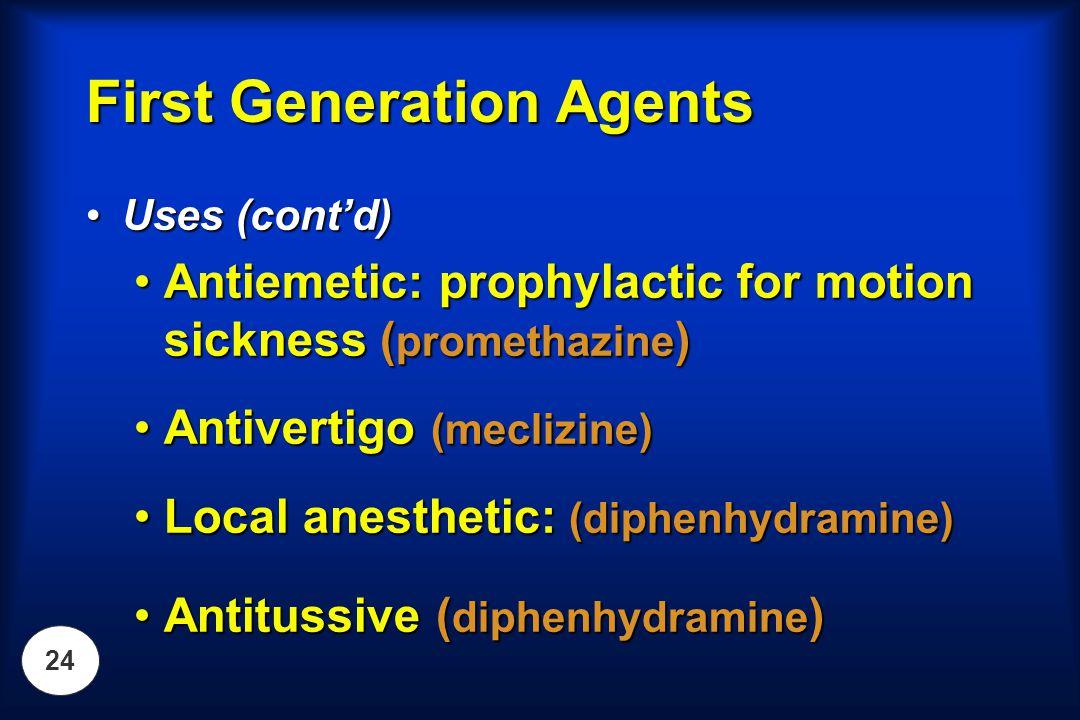 24 Uses (cont'd)Uses (cont'd) Antiemetic: prophylactic for motion sickness ( promethazine )Antiemetic: prophylactic for motion sickness ( promethazine