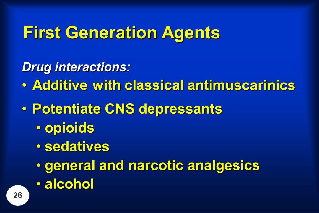 26 Drug interactions: Additive with classical antimuscarinicsAdditive with classical antimuscarinics Potentiate CNS depressantsPotentiate CNS depressa