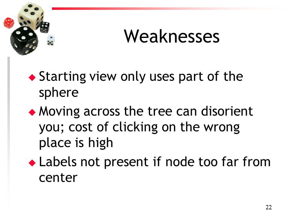 22 Weaknesses u Starting view only uses part of the sphere u Moving across the tree can disorient you; cost of clicking on the wrong place is high u L