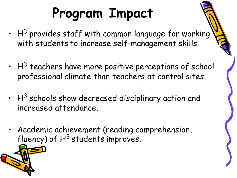 Program Impact H 3 provides staff with common language for working with students to increase self-management skills.