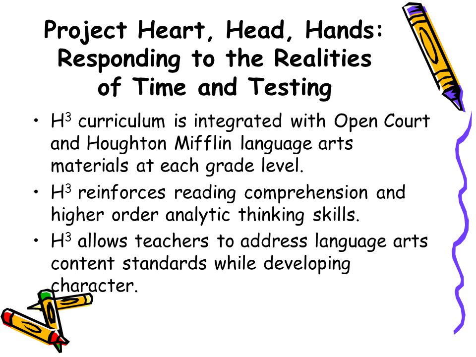 H 3 : An Integrated Approach  Fostering development of character traits (e.g., honesty, respect, responsibility)  Building social-emotional skills (e.g., effective communication, conflict resolution)  Engaging students in service-learning (performing acts of service for their communities) Social-Emotional Skills Service-Learning Heart Who we are.