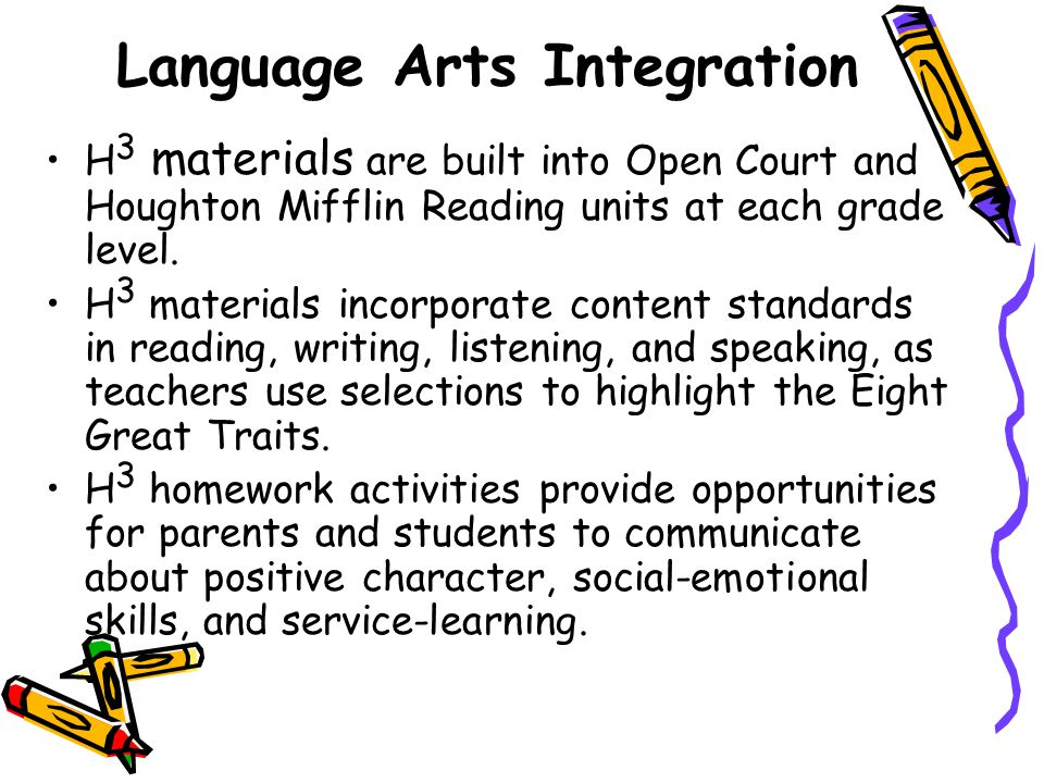 Language Arts Integration H 3 materials are built into Open Court and Houghton Mifflin Reading units at each grade level.