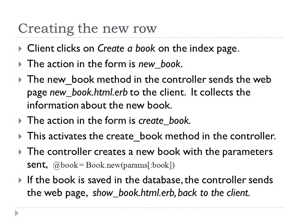 Creating the new row  Client clicks on Create a book on the index page.