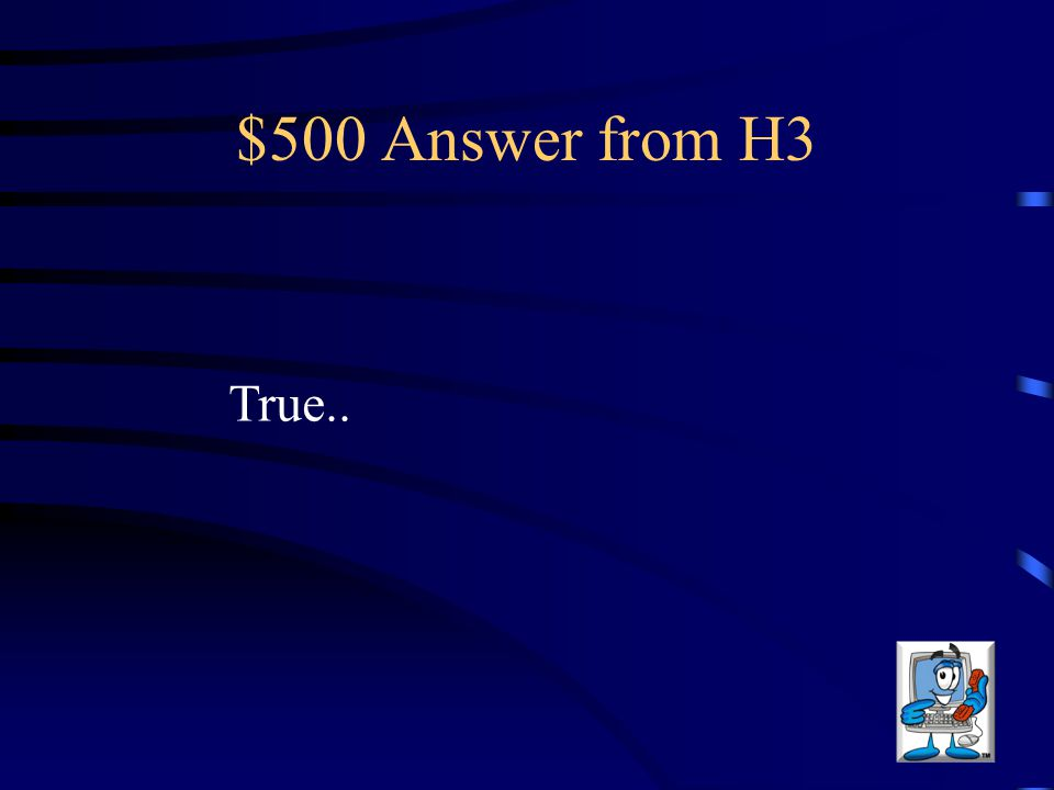 $500 Question from H3 Never meet someone you meet on the internet.