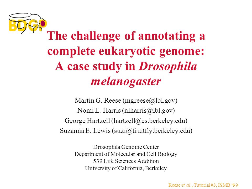 Reese et al., Tutorial #3, ISMB '99 The challenge of annotating a complete eukaryotic genome: A case study in Drosophila melanogaster Martin G.
