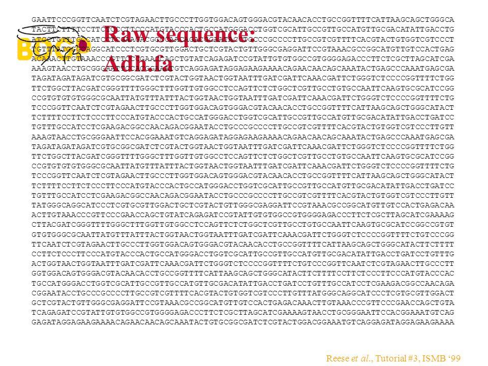 Reese et al., Tutorial #3, ISMB '99 Raw sequence: Adh.fa GAATTCCCGGTTCAATCTCGTAGAACTTGCCCTTGGTGGACAGTGGGACGTACAACACCTGCCGGTTTTCATTAAGCAGCTGGGCA TACTTC