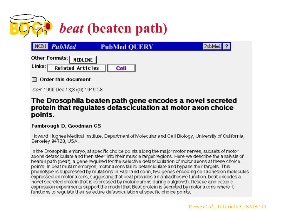 Reese et al., Tutorial #3, ISMB '99 beat (beaten path)