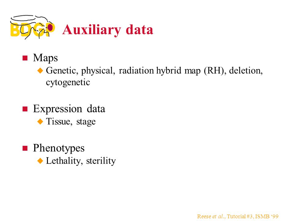 Reese et al., Tutorial #3, ISMB '99 Auxiliary data Maps  Genetic, physical, radiation hybrid map (RH), deletion, cytogenetic Expression data  Tissue, stage Phenotypes  Lethality, sterility