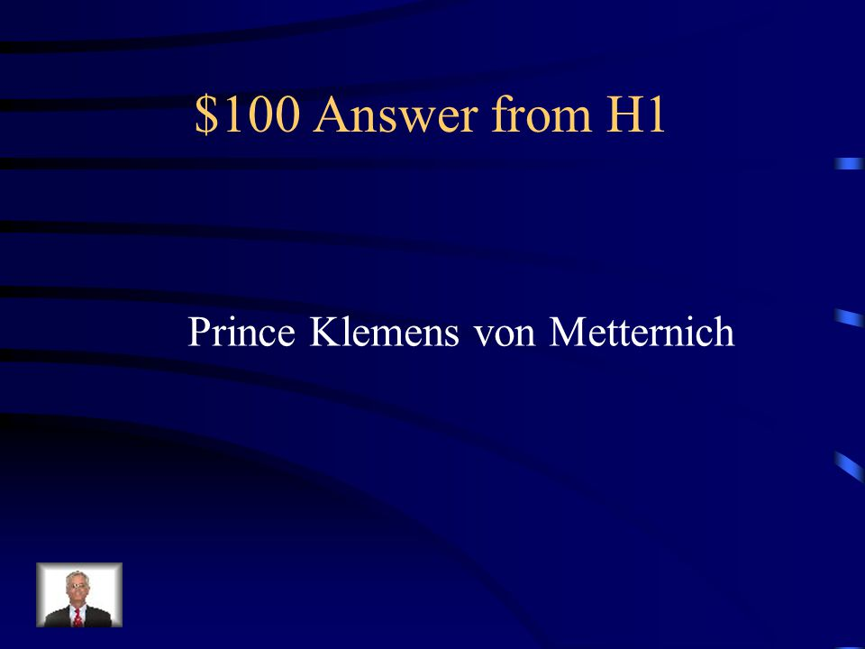 $100 Question from H1 Hosted the Congress of Vienna
