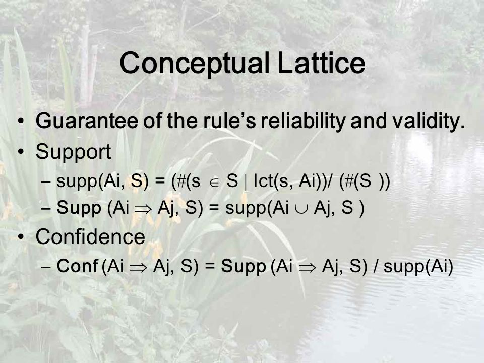 Conceptual Lattice Guarantee of the rule's reliability and validity.