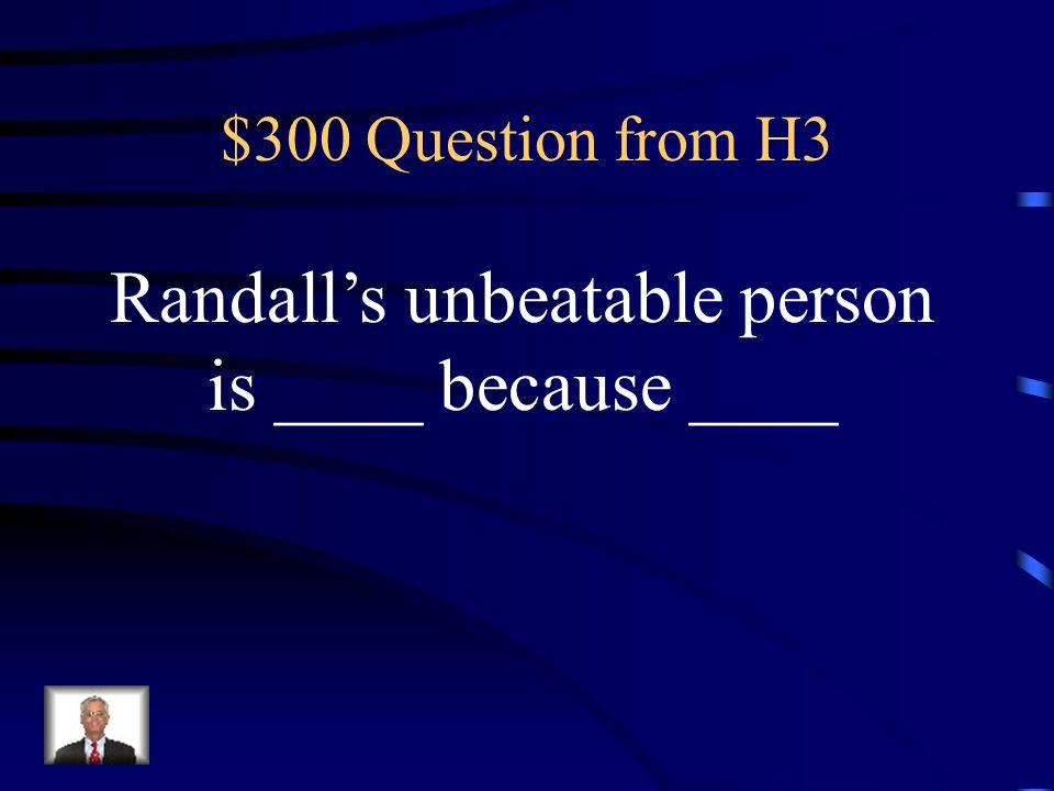$200 Answer from H3 Cheryl's unbeatable person is Rebecca because she is the second best singer, dancer, and performer