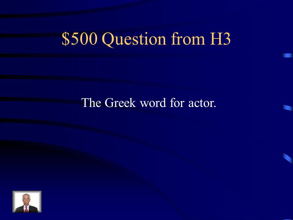 $400 Answer from H3 Who was the Chorus?