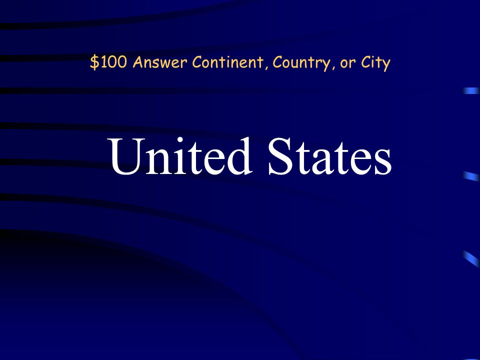 Jeopardy Continent, Country, or City Where is it? Mountains RiversDeserts 100 200 300 400 500 100 200 300 400 500 Double Jeopardy