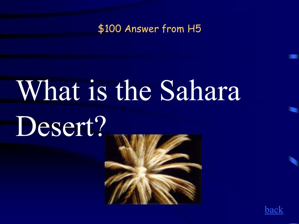 $100 Question from H5 The largest hot dry, rock and sand desert in the world.