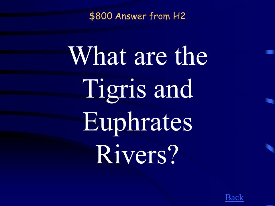 $800 Question from H2 Home to the Fertile Crescent, these rivers surround Baghdad.