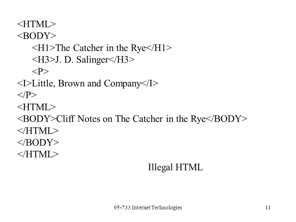 95-733 Internet Technologies11 The Catcher in the Rye J. D. Salinger Little, Brown and Company Cliff Notes on The Catcher in the Rye Illegal HTML