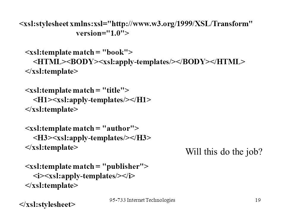 95-733 Internet Technologies19 <xsl:stylesheet xmlns:xsl= http://www.w3.org/1999/XSL/Transform version= 1.0 > Will this do the job