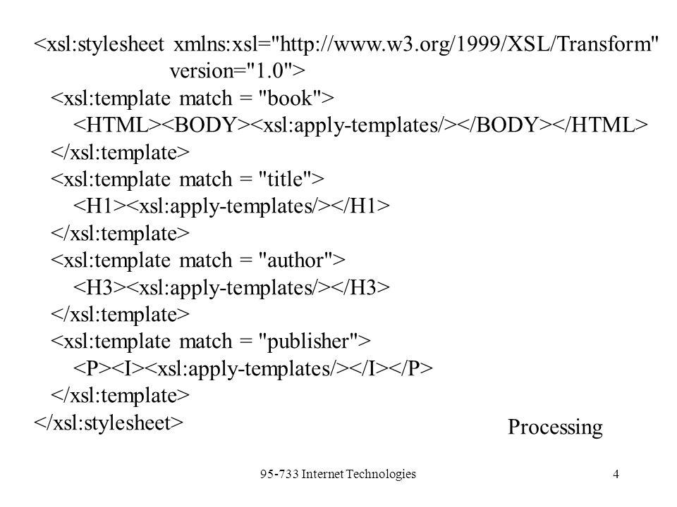 95-733 Internet Technologies4 <xsl:stylesheet xmlns:xsl= http://www.w3.org/1999/XSL/Transform version= 1.0 > Processing