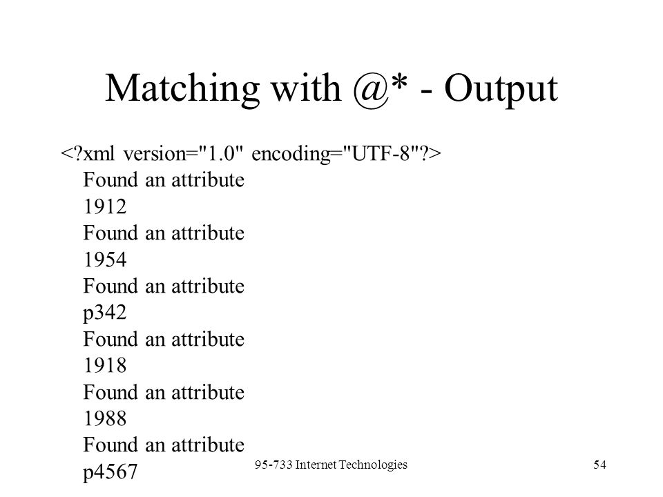95-733 Internet Technologies54 Matching with @* - Output Found an attribute 1912 Found an attribute 1954 Found an attribute p342 Found an attribute 19
