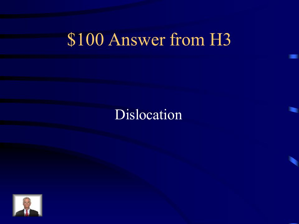 $100 Question from H3 What injury occurs when a bone Comes out of its joint?