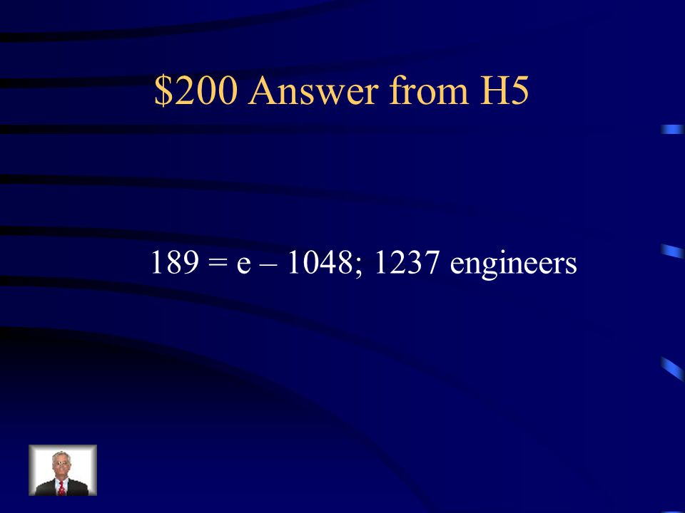 $200 Question from H5 In 1999, 189 physical therapists ran the New York City Marathon. This was 1048 fewer than the number of engineers who ran. How m