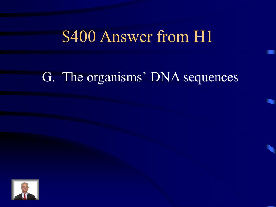 $400 Answer from H5 A = T, T = 30% A = 30% Total = 60% G = C G = 20%, C = 20% Total = 40% 40 + 60 = 100%
