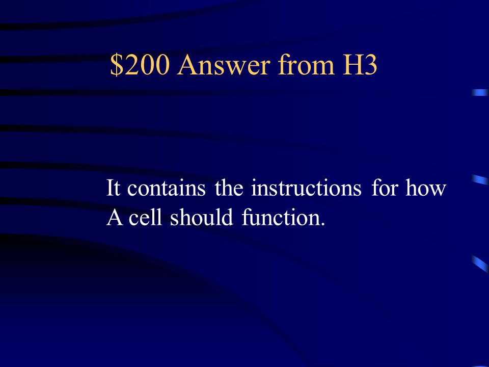$200 Question from H3 What is the importance of DNA?