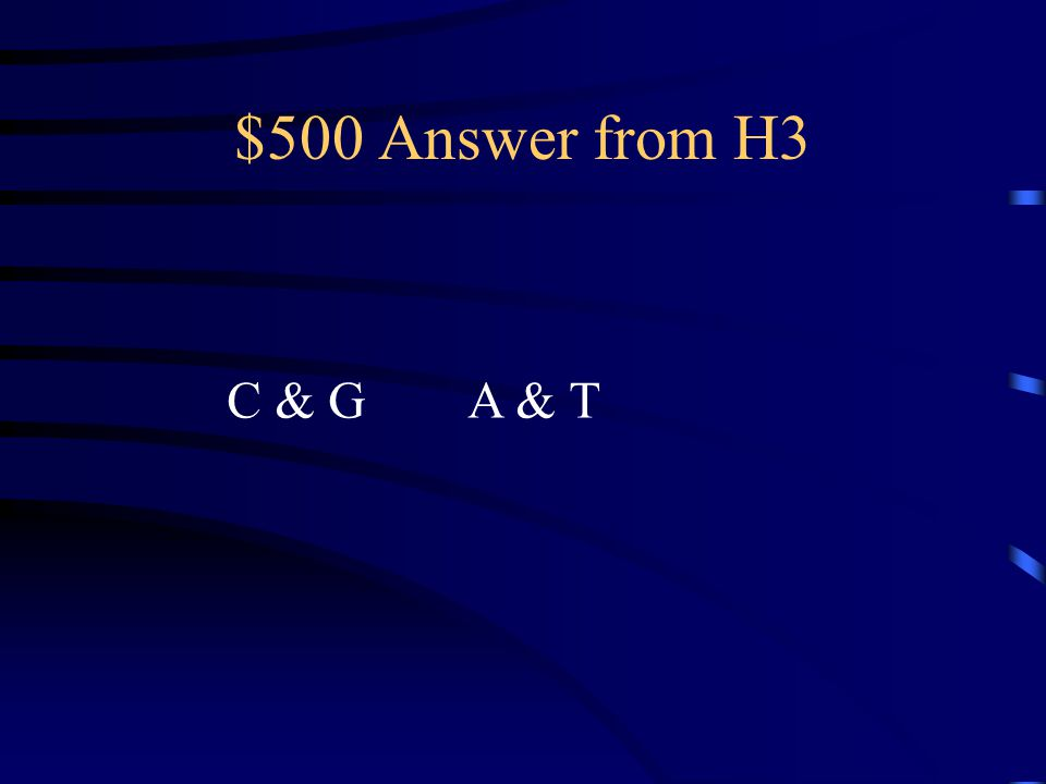 $500 Question from H3 What are the 4 bases and how do they Pair up?