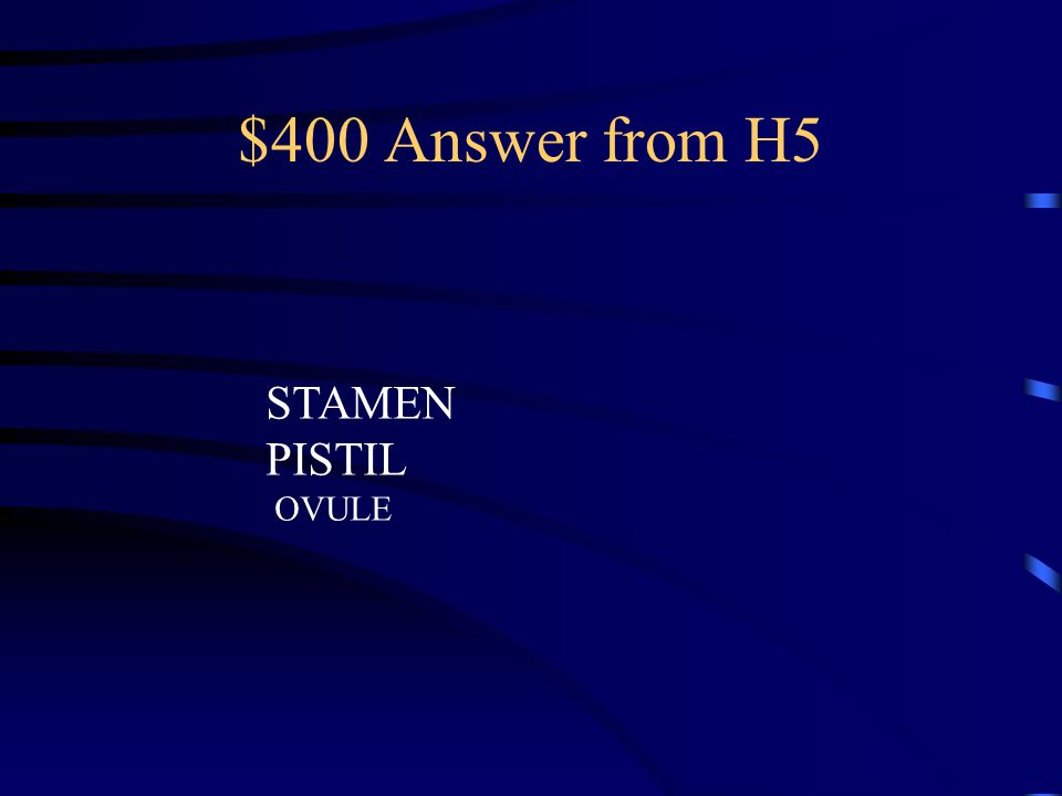 $400 Question from H5 Pollen is produced in the plant's _______ The Female Egg is produced in the plant's _________ Fertilization Occurs in the plant's ____________