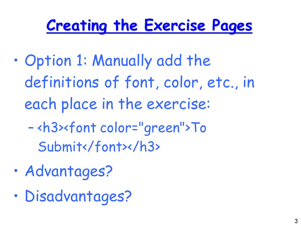 14 Creating the XSL (1) Start with a static html example of a resulting exercise page (this uses a similar CSS to the one before)