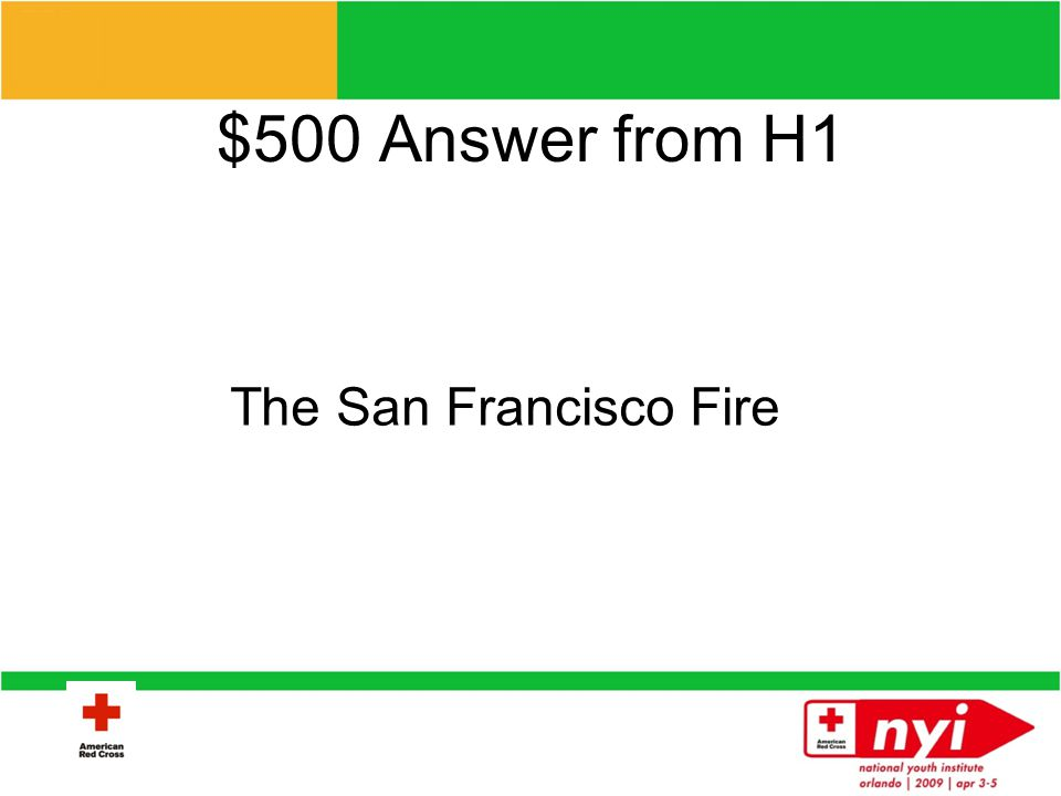 $500 Question from H1 What disaster put the ARC on the map in 1908?