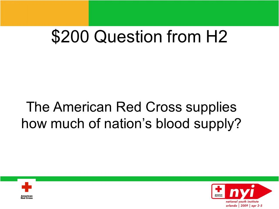 $100 Answer from H2 Health and Safety, Disaster, International, Biomedical, Service to Armed Forces