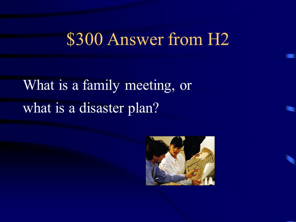 $300 Question from H2 You talk about where you will meet outside the house in case of an emergency.