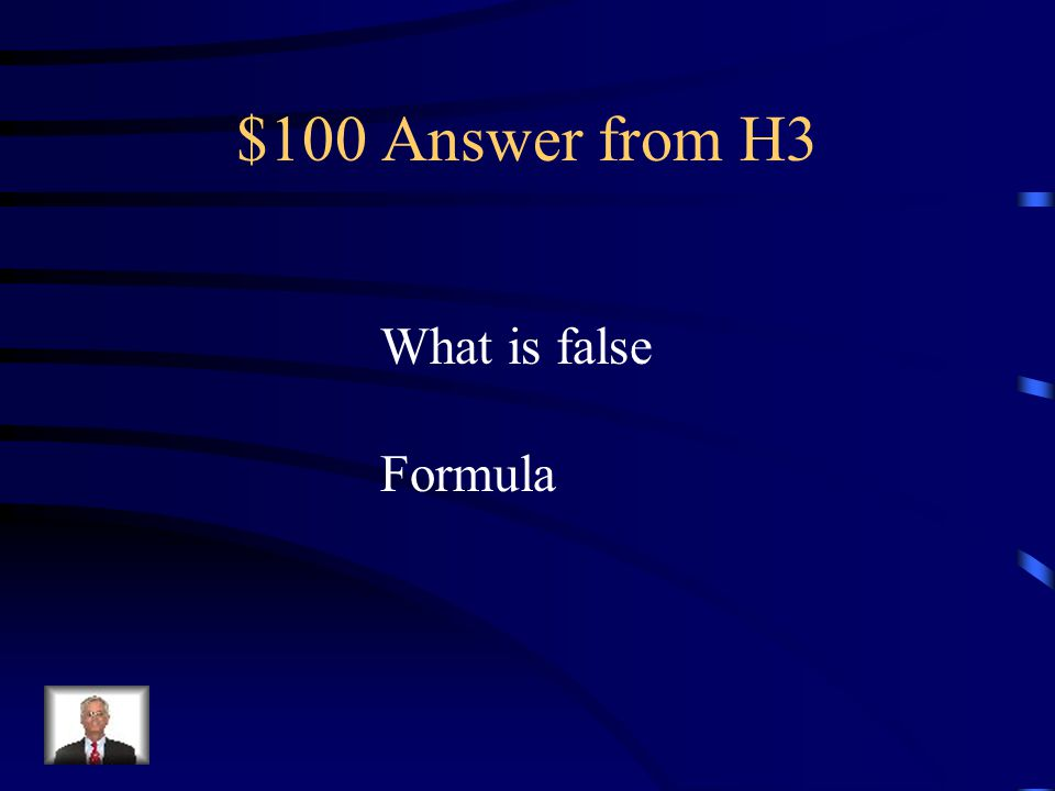 $100 Question from H3 The equation used to calculate value in a cell is called a command.