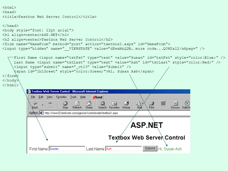Textbox Web Server Control ASP.NET Textbox Web Server Control First Name Last Name Hi, Susan Ash