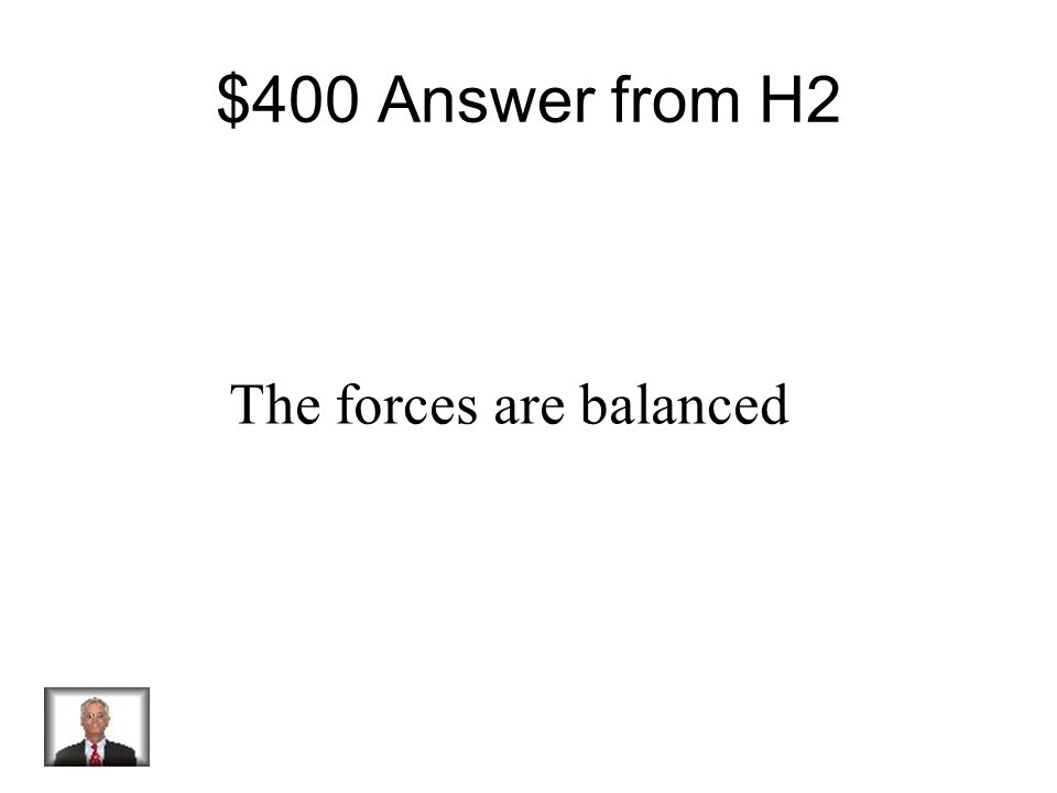 $400 Question from H2 If you are playing football and you push against the player across from you, but neither you nor the other player moves when for