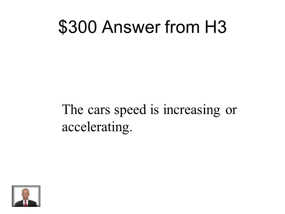 $300 Question from H3 Your Text Here Speed Using the graph above, what best explains the motion between points L and M?