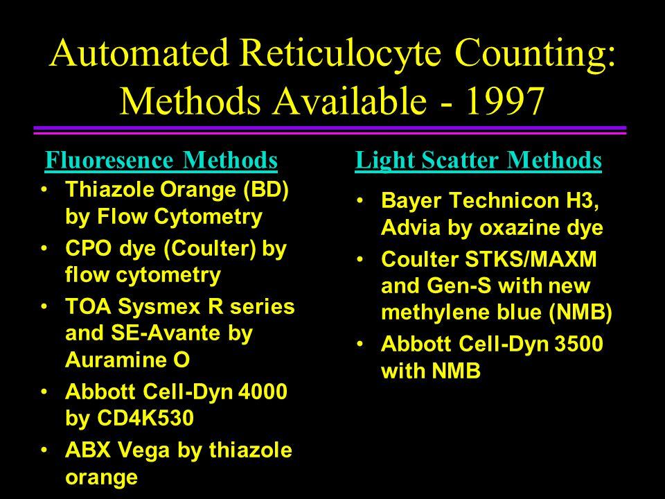 Advantages of Automated Reticulocyte Analysis Amenable to labor efficiencies or robotics –faster analysis per sample –allows for batch analysis or random access Improved precision of retic counting –superior to visual microscopic counts –greater objectivity New parameters of erythropoiesis –Immature Reticulocyte Fraction (IRF) –Reticulocyte hemoglobin content