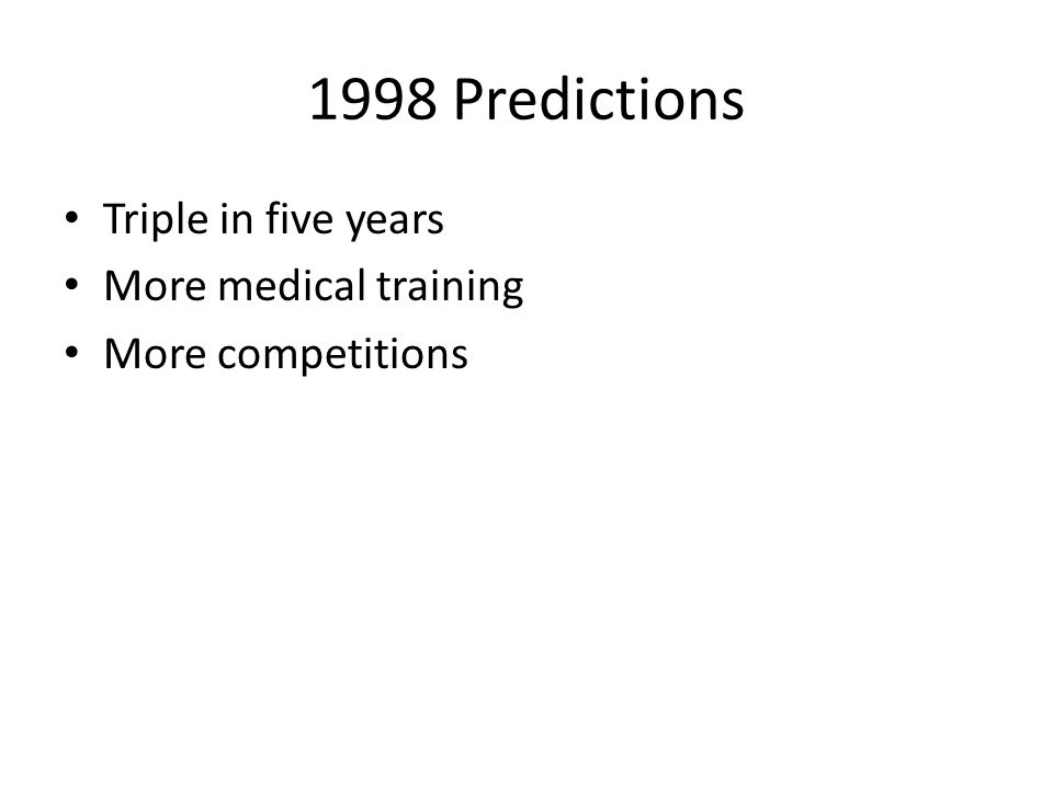 1998 Predictions Triple in five years More medical training More competitions