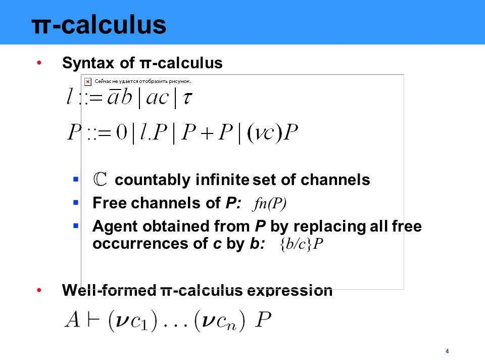 4 π-calculus Syntax of π-calculus  countably infinite set of channels  Free channels of P: fn(P)  Agent obtained from P by replacing all free occurrences of c by b: {b/c}P Well-formed π-calculus expression